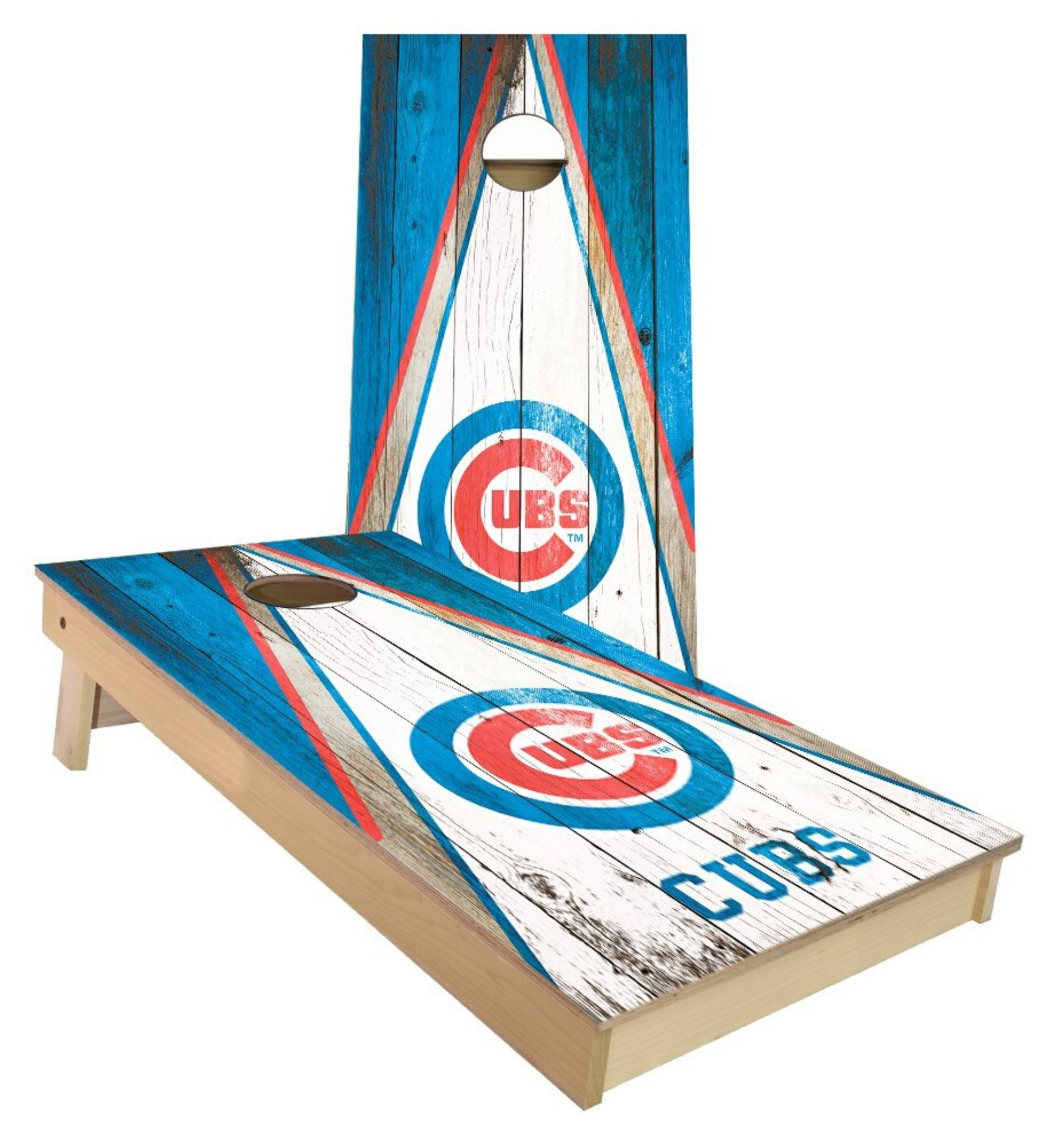 Regulation Chicago Cubs cornhole boards. Customizable premium quality cornhole set.