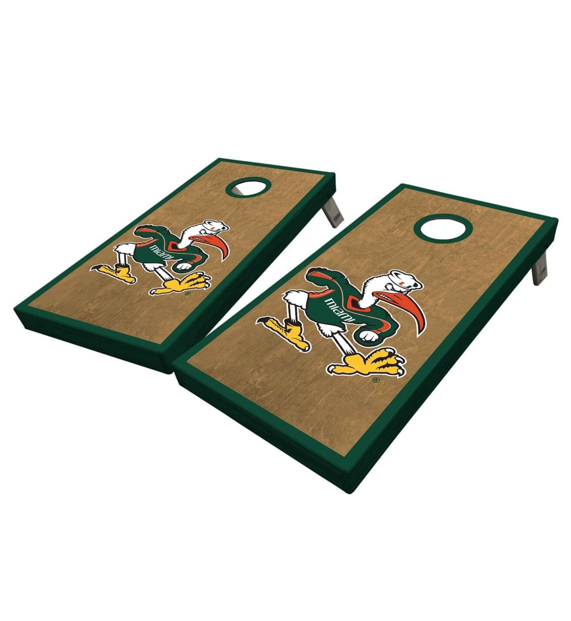 Regulation cornhole boards. University of Miami vintage style premium quality custom designs.