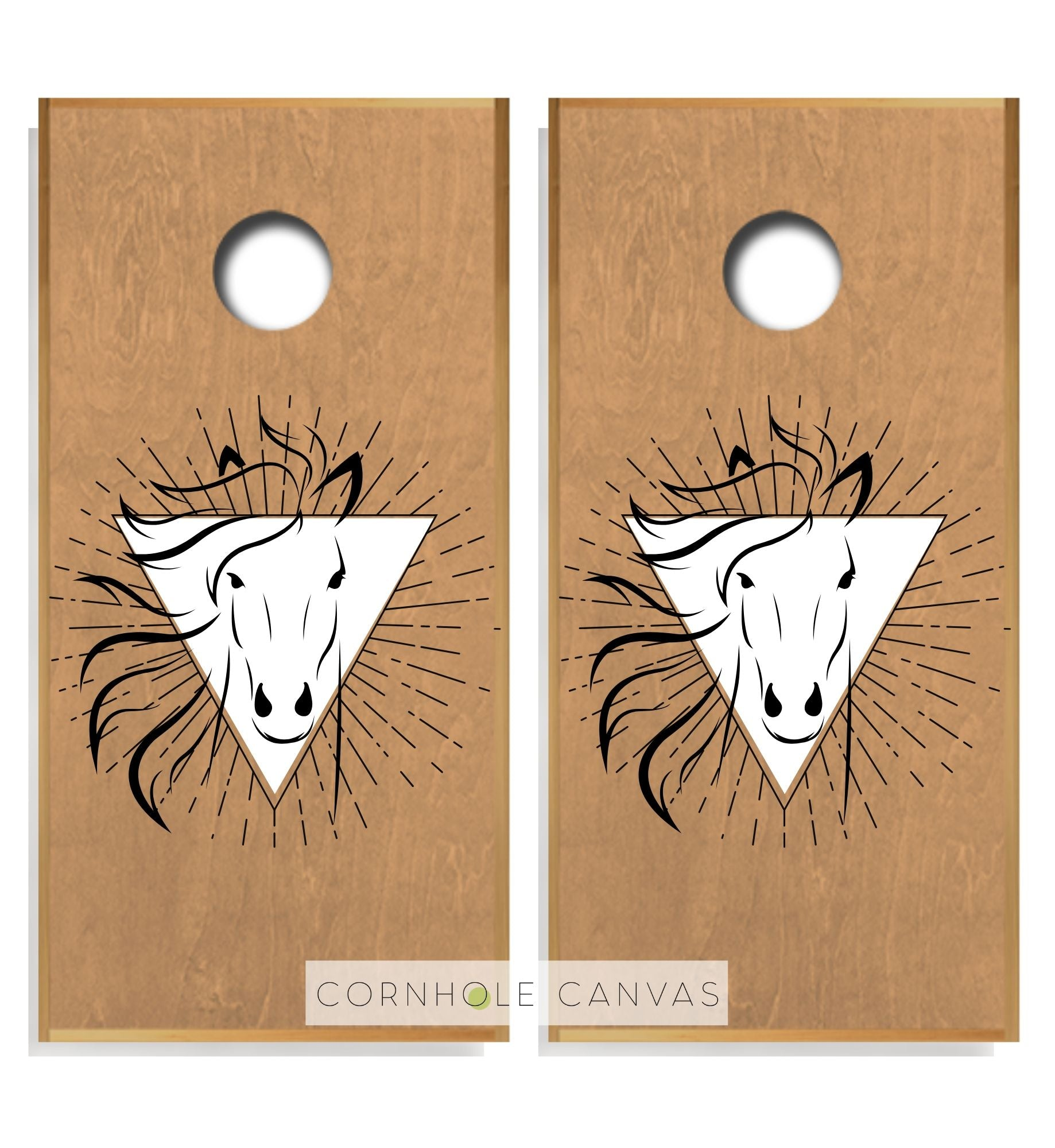Regulation cornhole boards. Set of two. Horse theme. Customizable.
