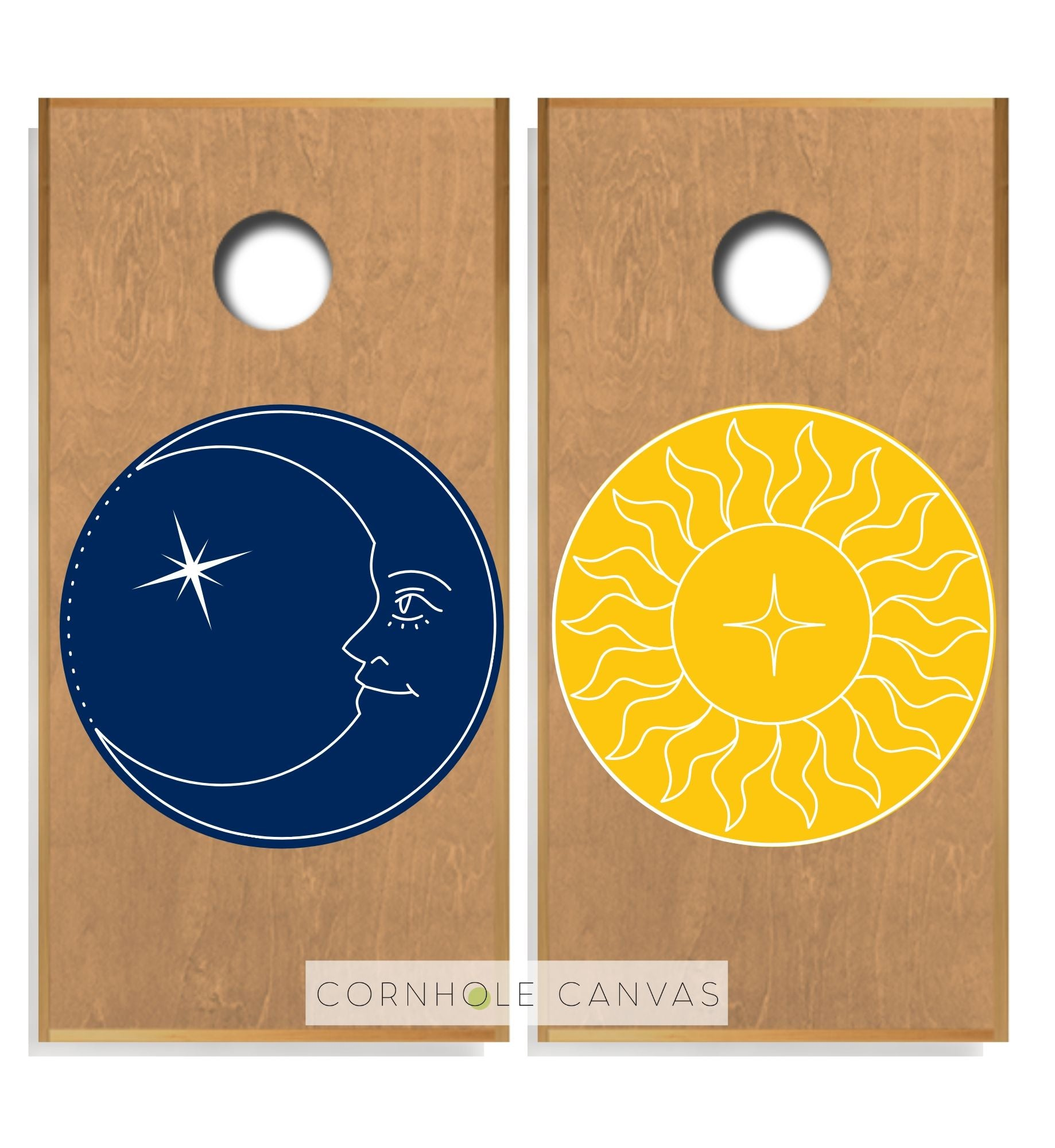 Regulation cornhole boards. Set of two. Sun and moon print. Customizable.