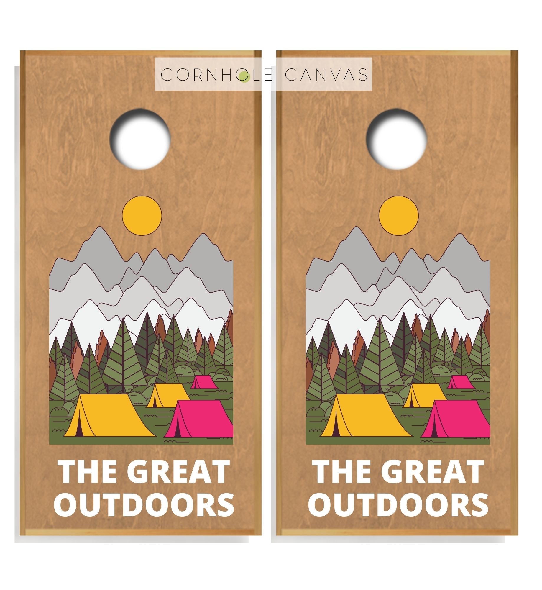 Regulation cornhole boards. Set of two. Nature theme. Customizable.