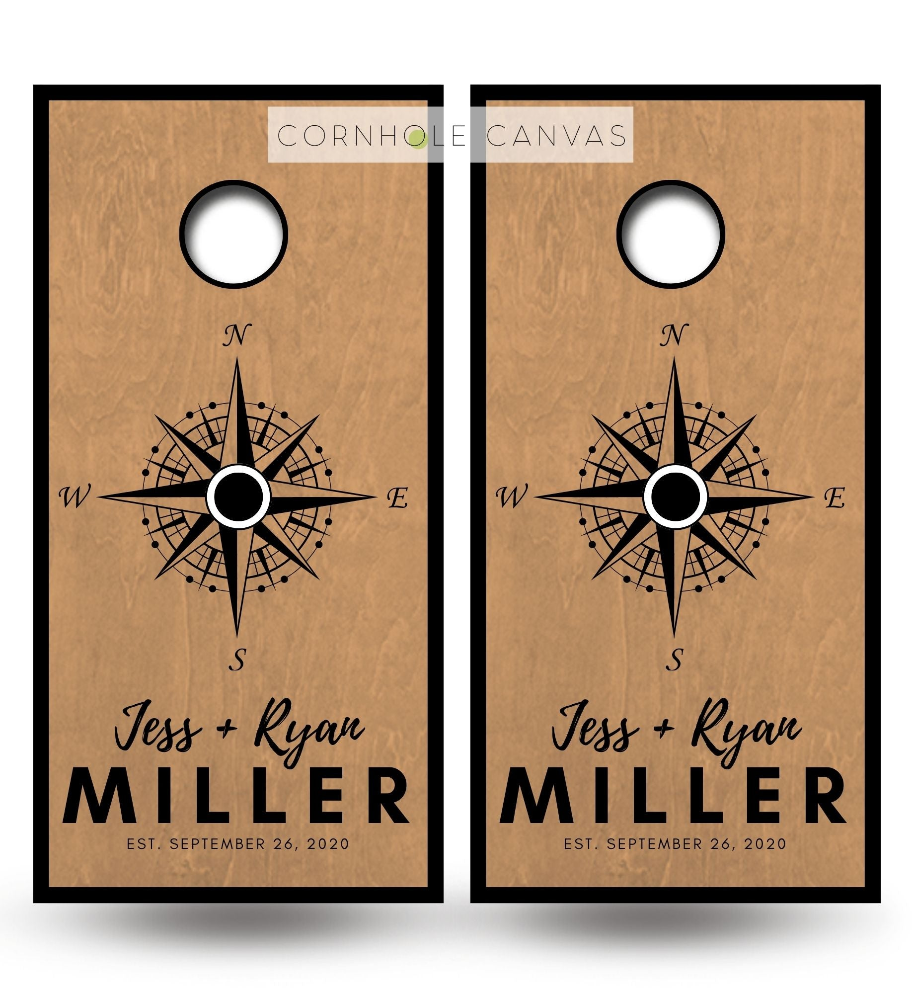 Regulation cornhole boards. Set of two. Custom Monnogram compass on golden oak stain.