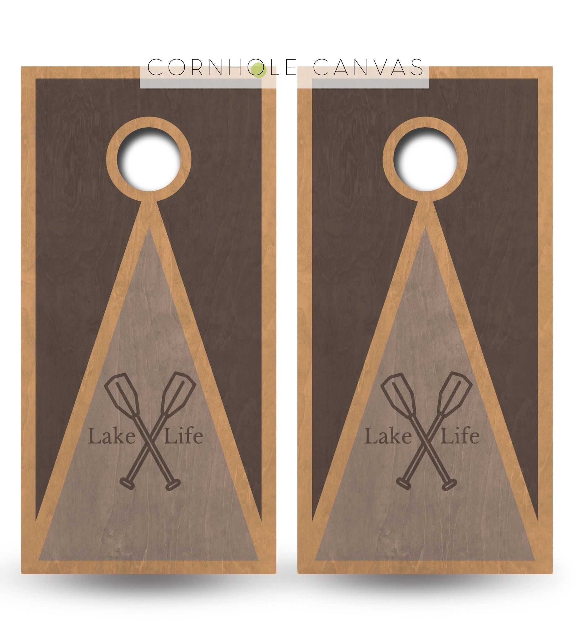 Regulation lake theme cornhole boards. Customizable premium quality cornhole set.