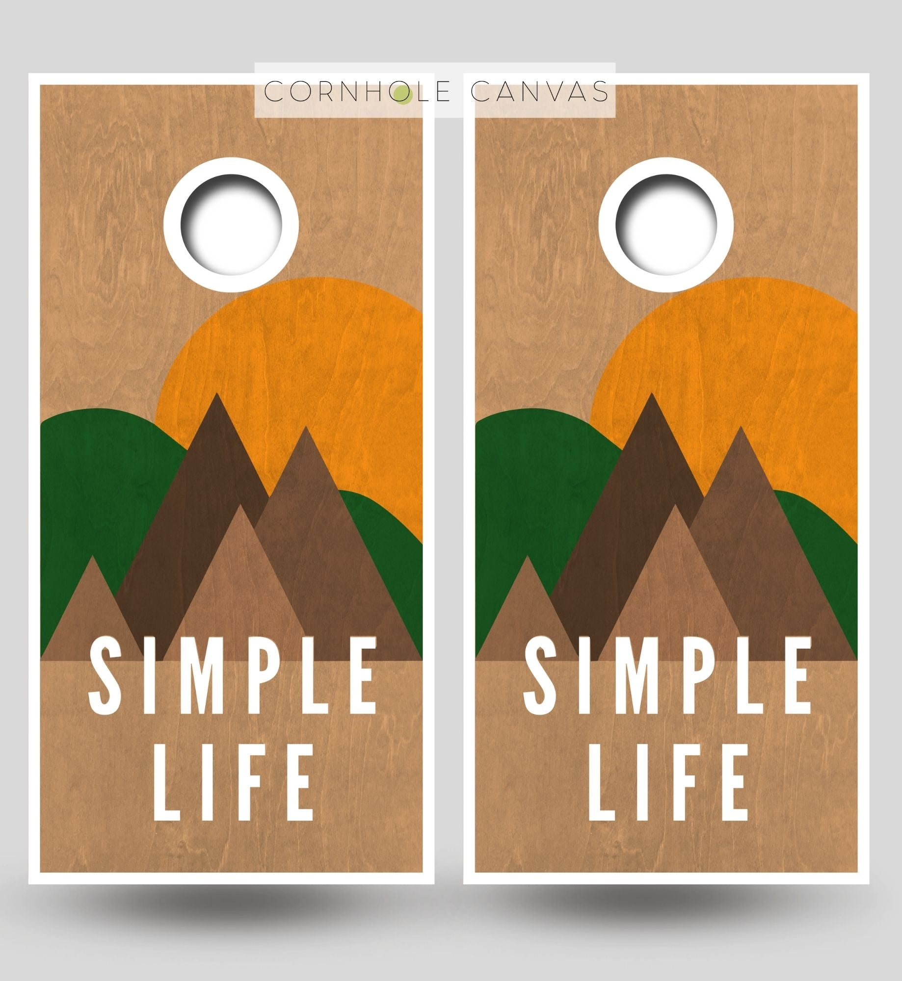 Solid wood cornhole boards. Nature theme. Customizable set.