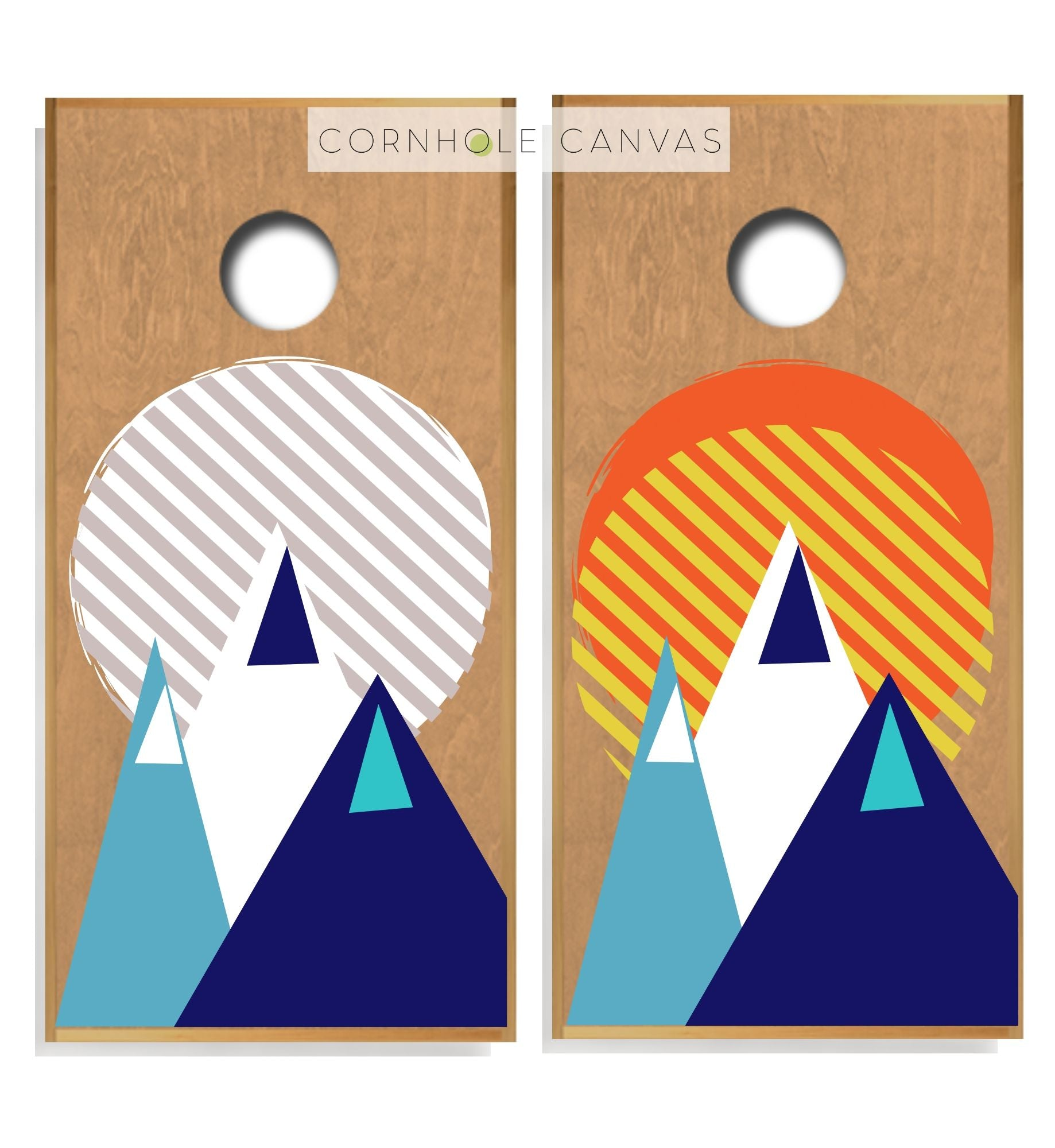 Regulation cornhole boards. Set of two. Mountain theme. Customizable.