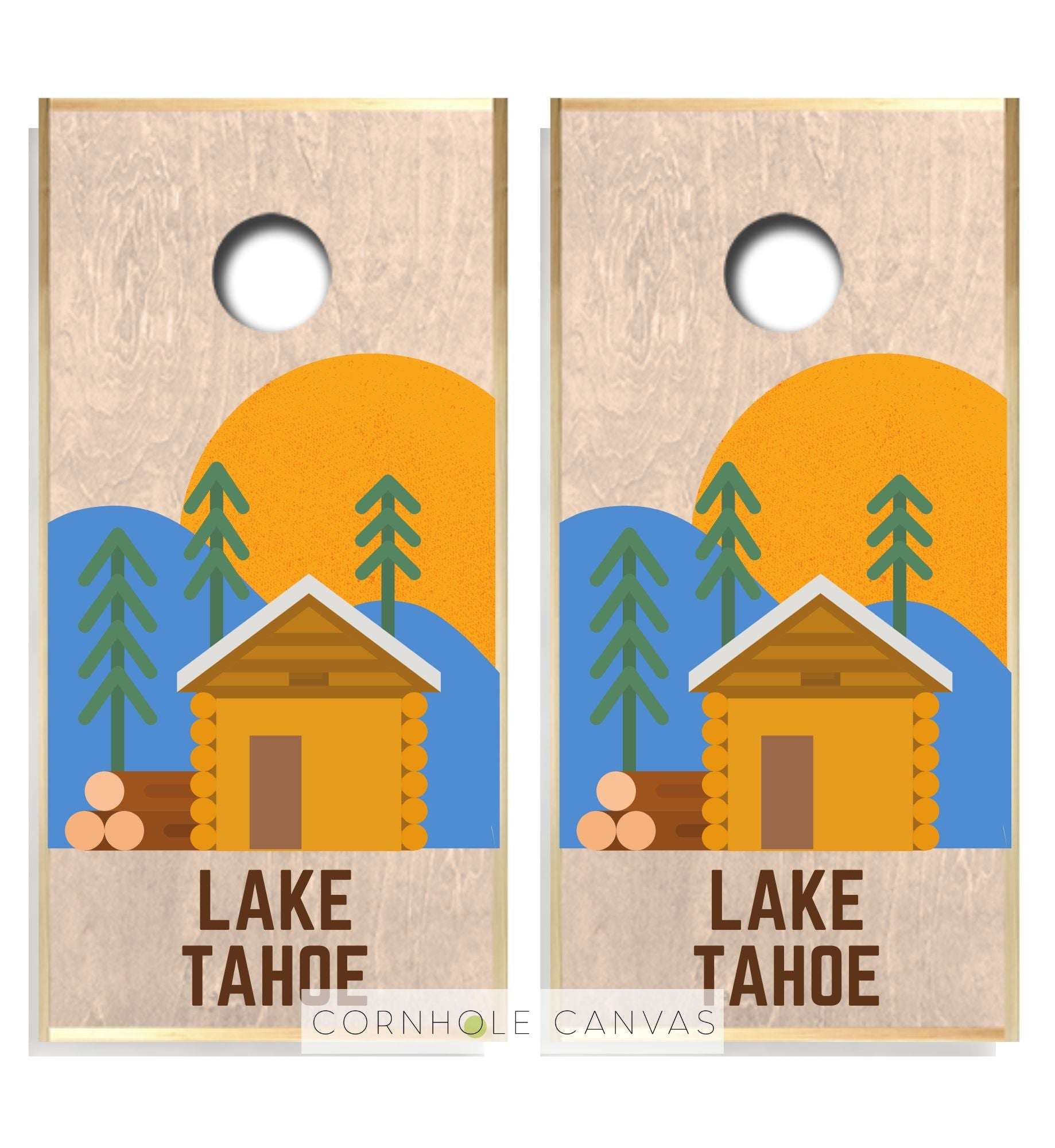 Regulation cornhole boards. Lake tahoe theme. Customizable set.