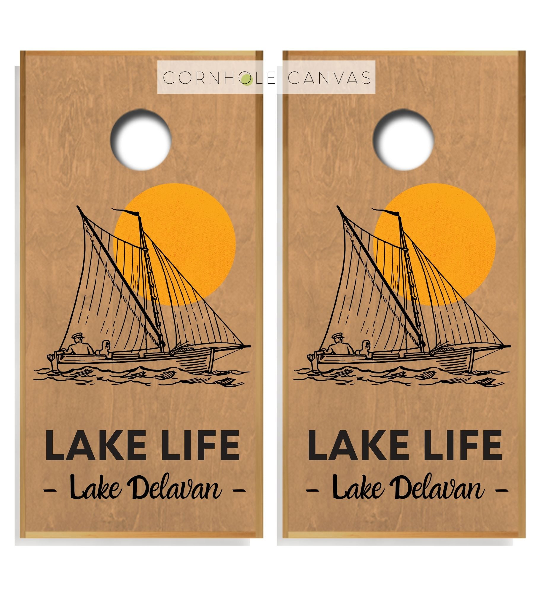 Regulation cornhole boards. Set of two. Lake delevan theme. Customizable.