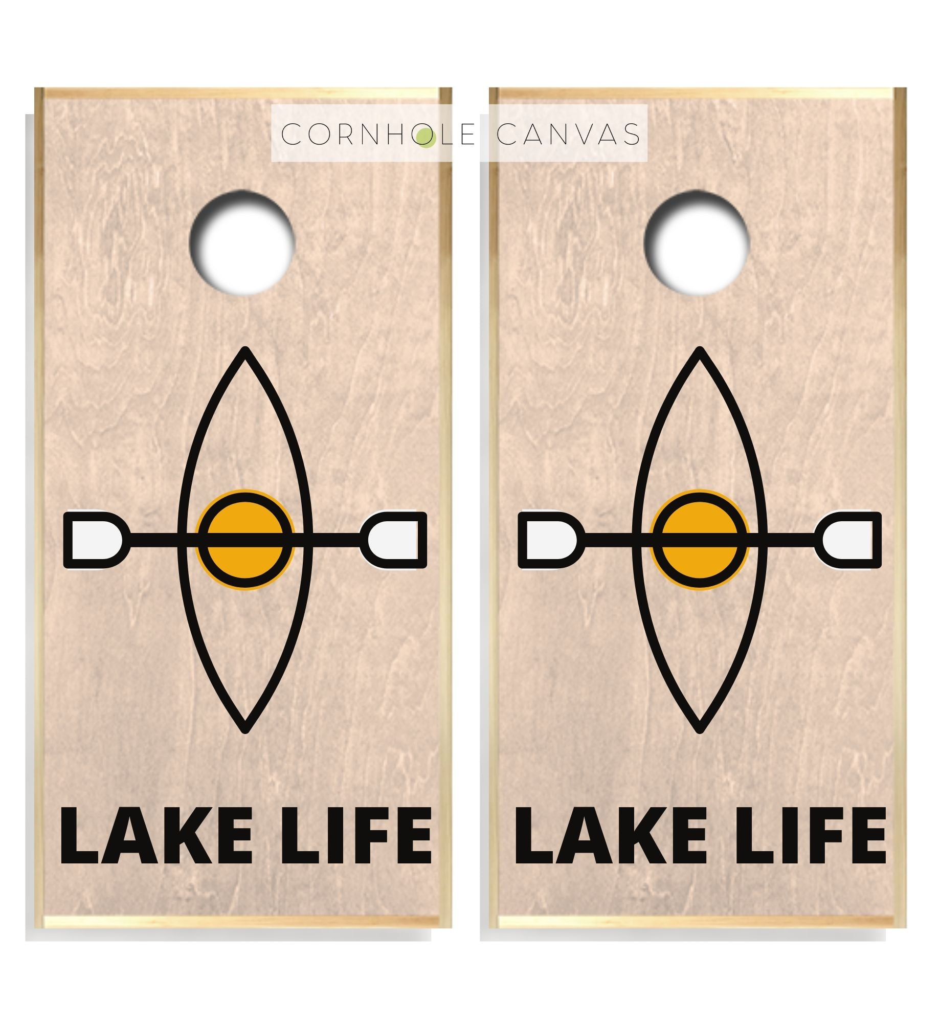 Regulation canoe lake theme cornhole boards. Customizable premium quality cornhole set.