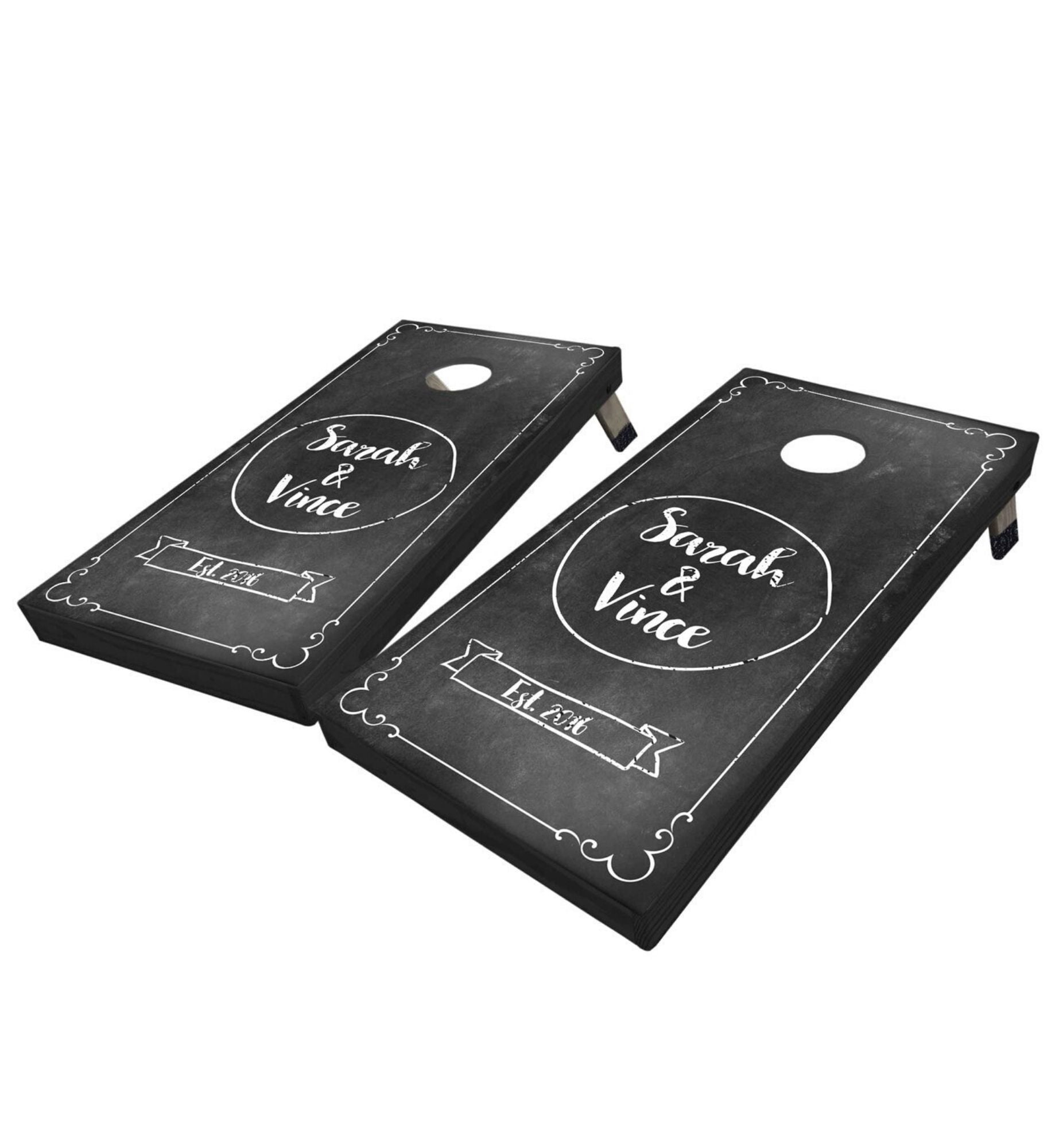 Regulation cornhole boards. Wedding chalk board. Premium quality custom designs.