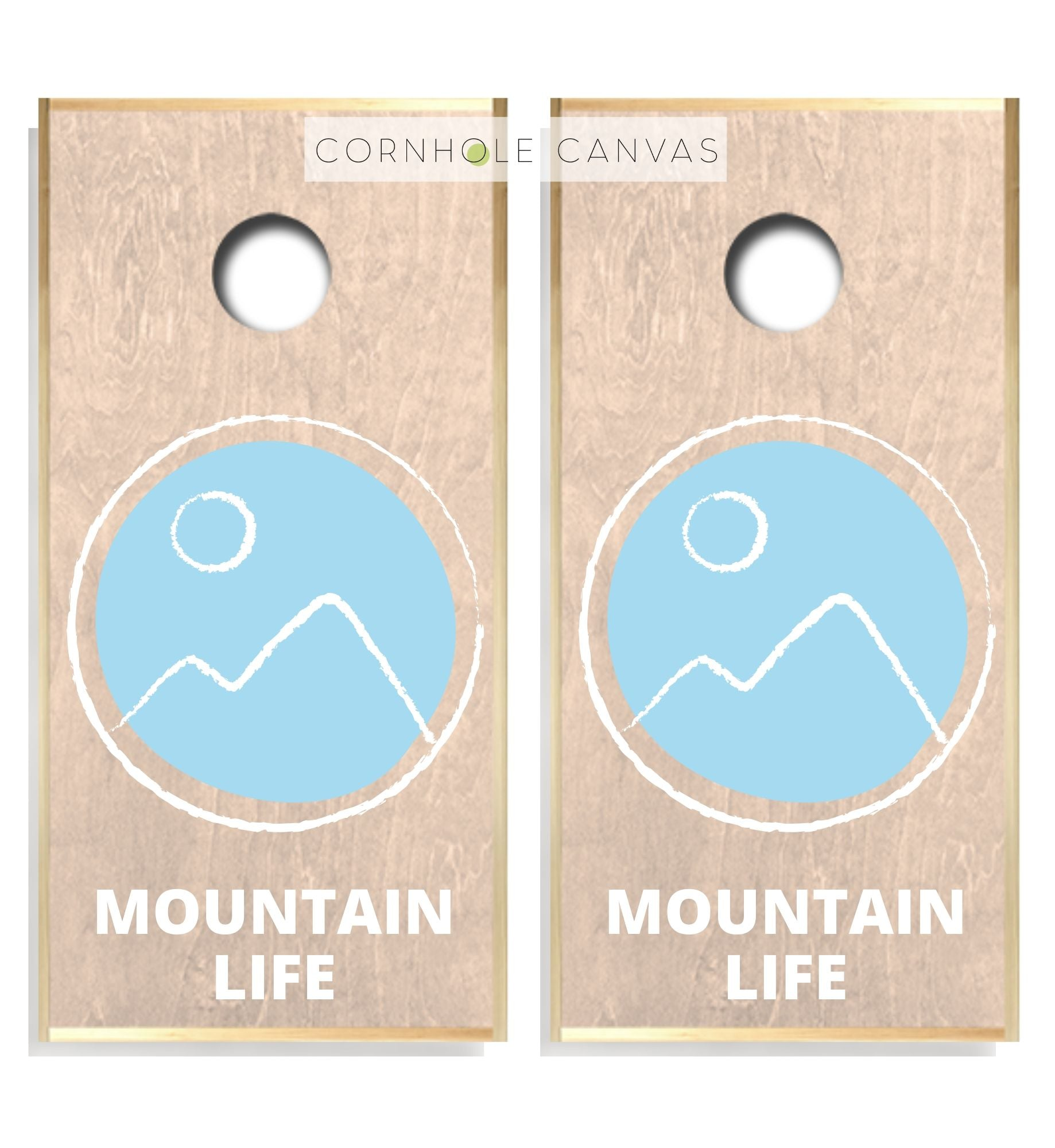 Regulation mountain theme cornhole boards. Customizable premium quality cornhole set.