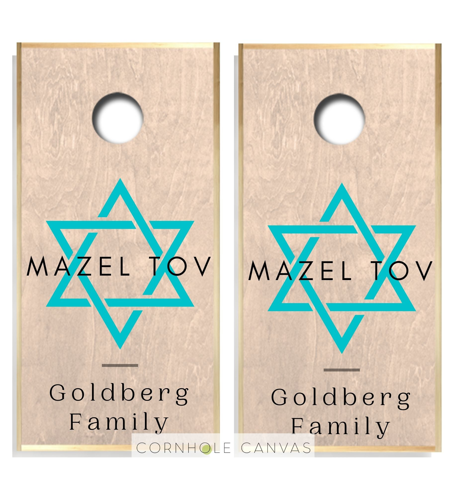 Regulation cornhole boards. Set of two. Barmitzvah theme. Customizable.