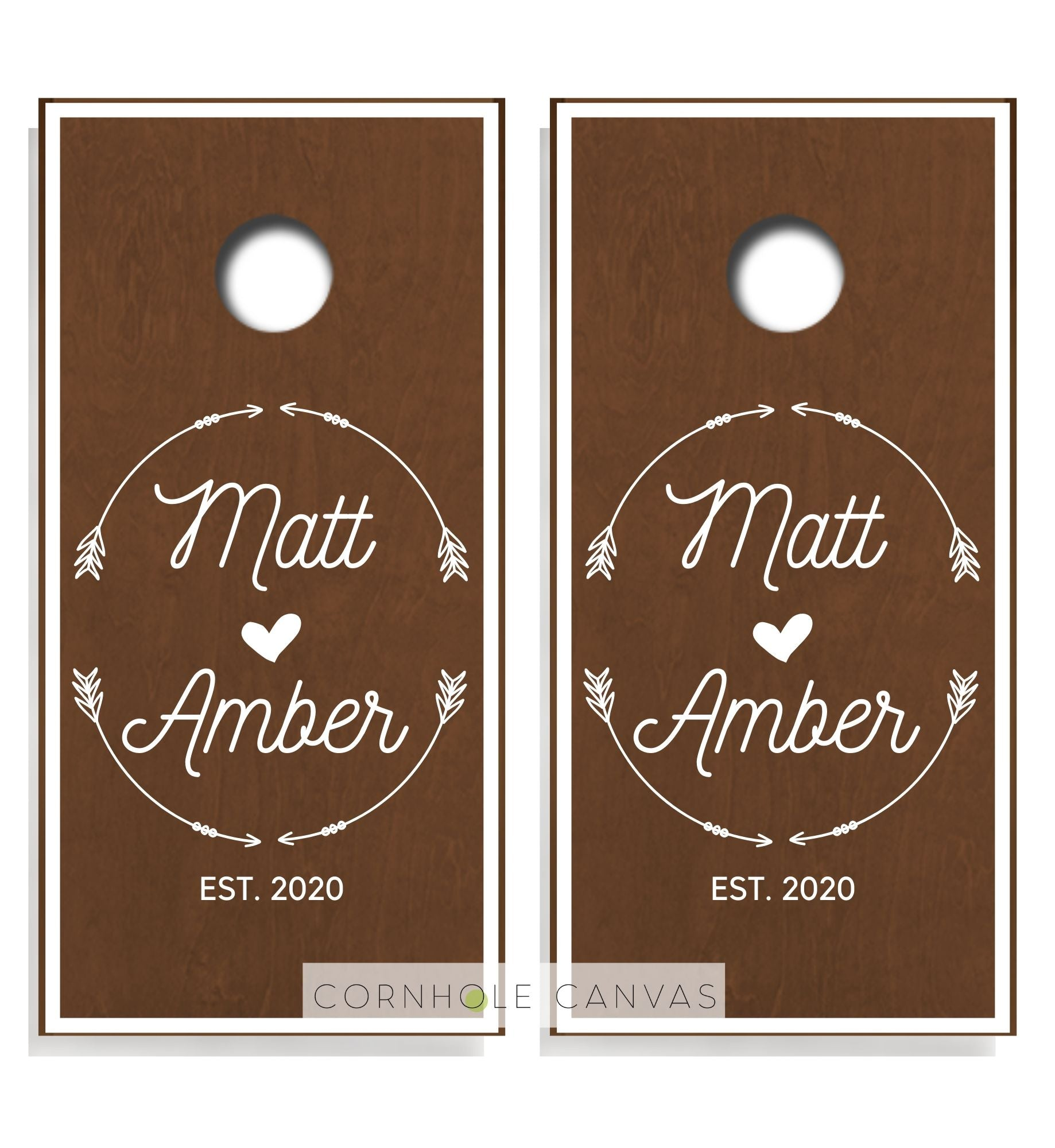 Regulation cornhole boards. Wedding monnogram initials and date. Customizable set and rustic design.