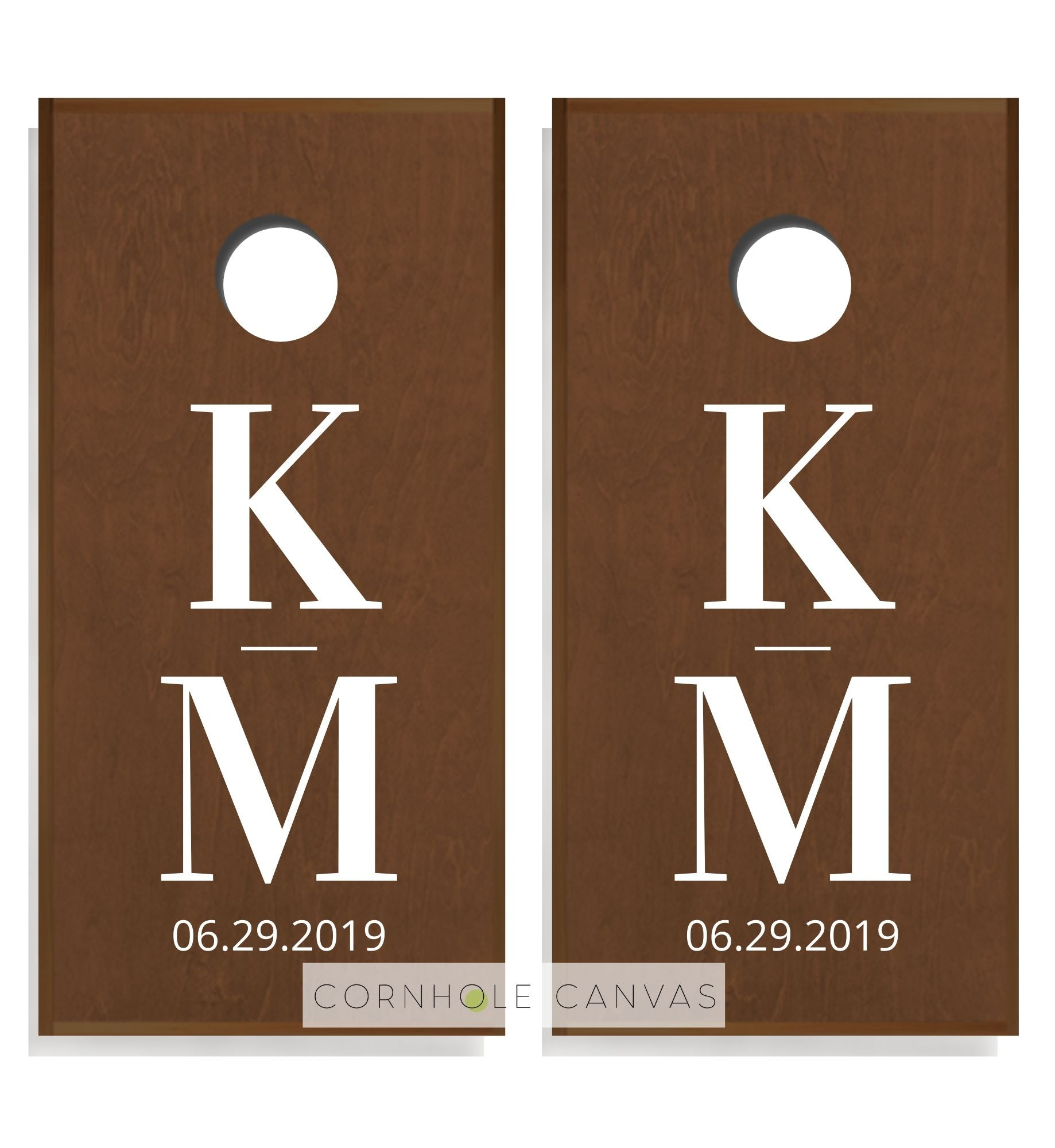 Regulation cornhole boards. Wedding monnogram initials and date. Customizable set.