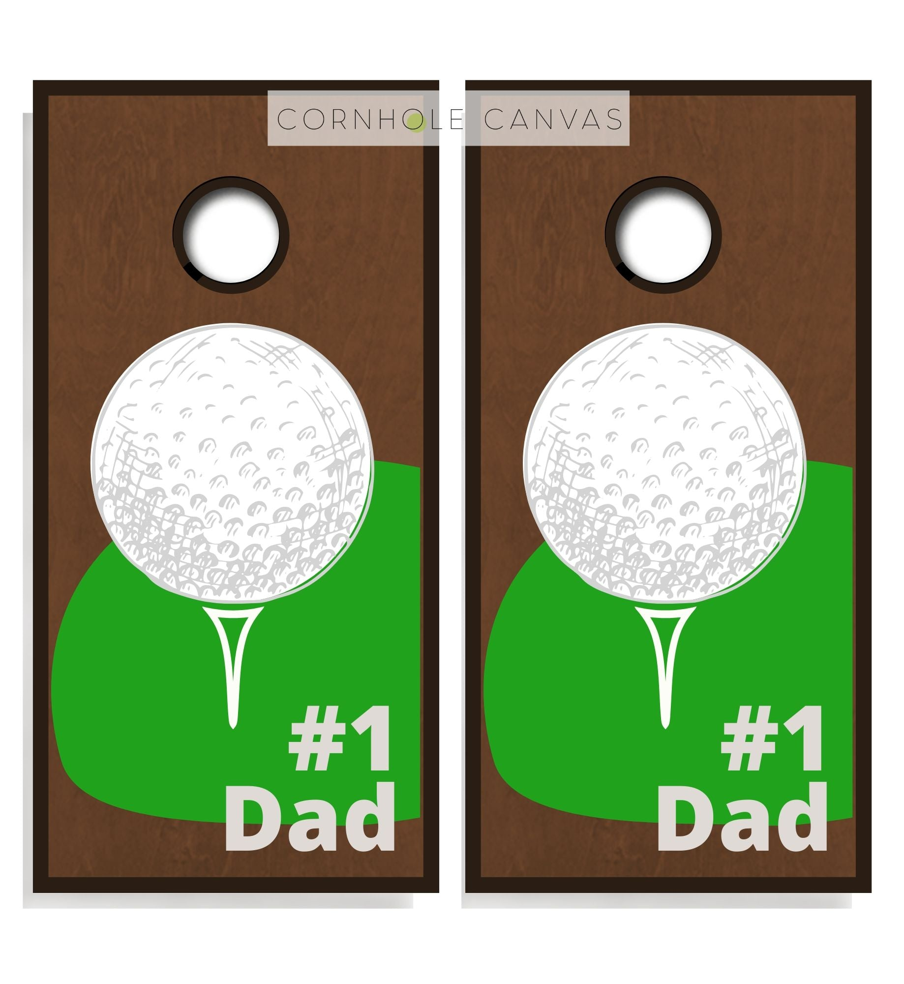 Golf theme cornhole boards. Set of two. Regulation size.