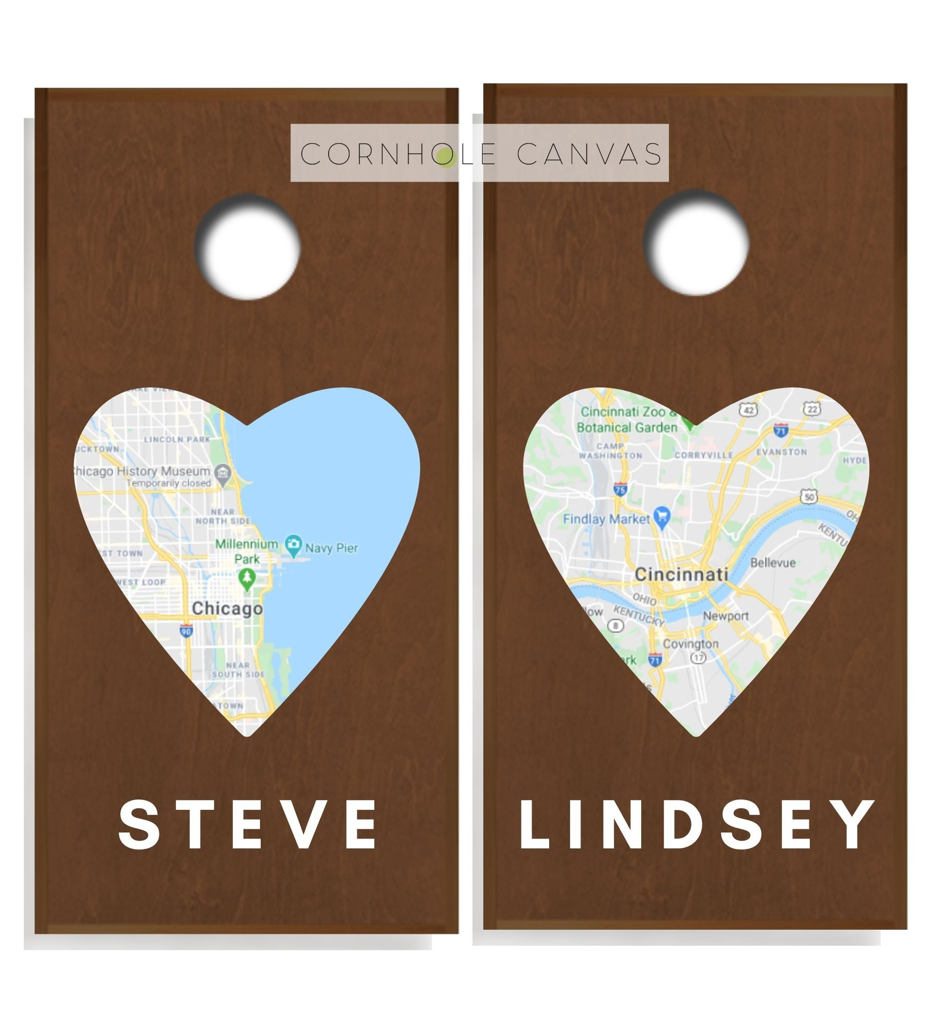 Wedding Cornhole Boards - Regulation Size - Heart Print - Love's Origin
