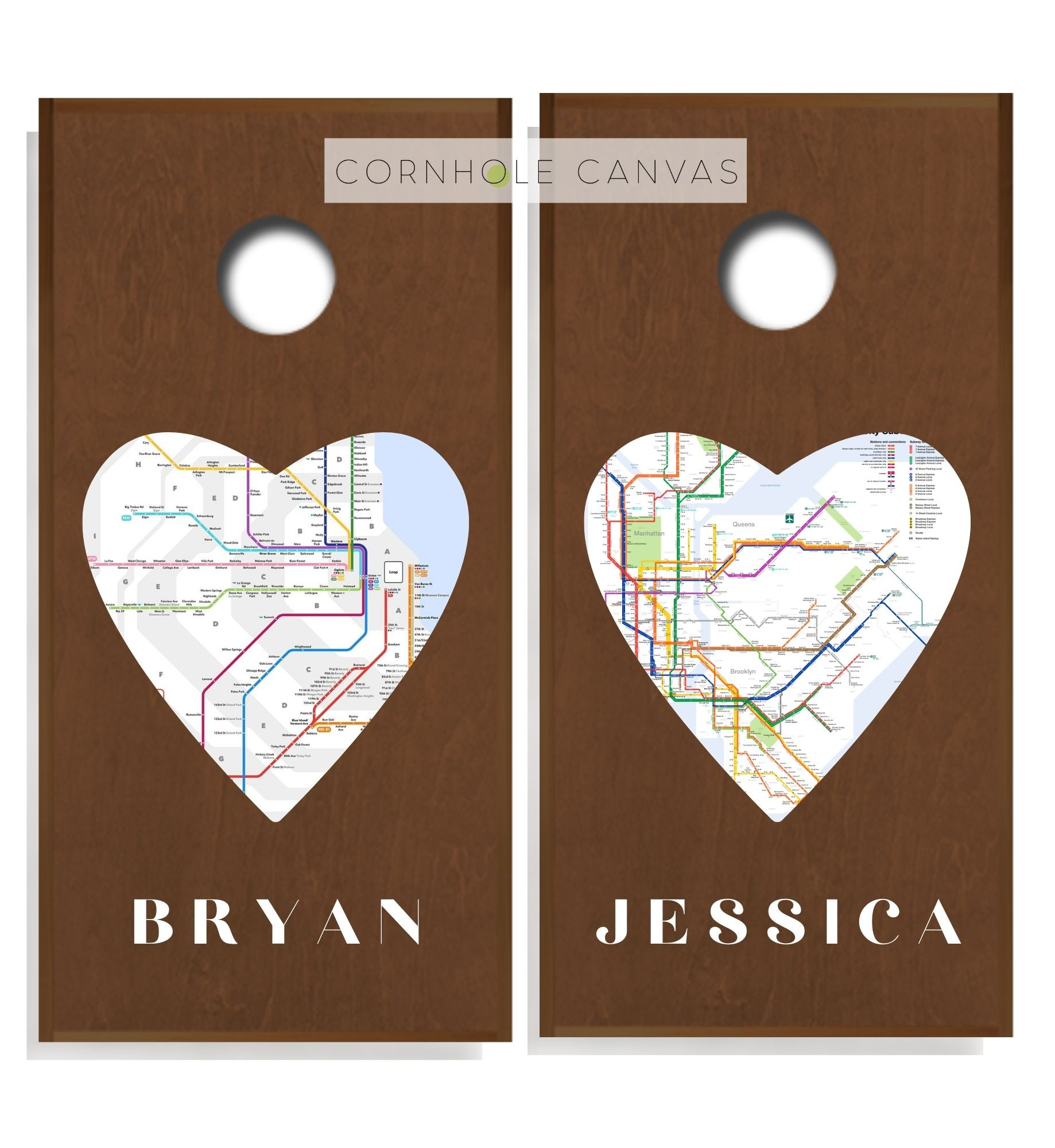 Chicago Wedding Cornhole Boards - Regulation Size - Heart Print - Love's Origin