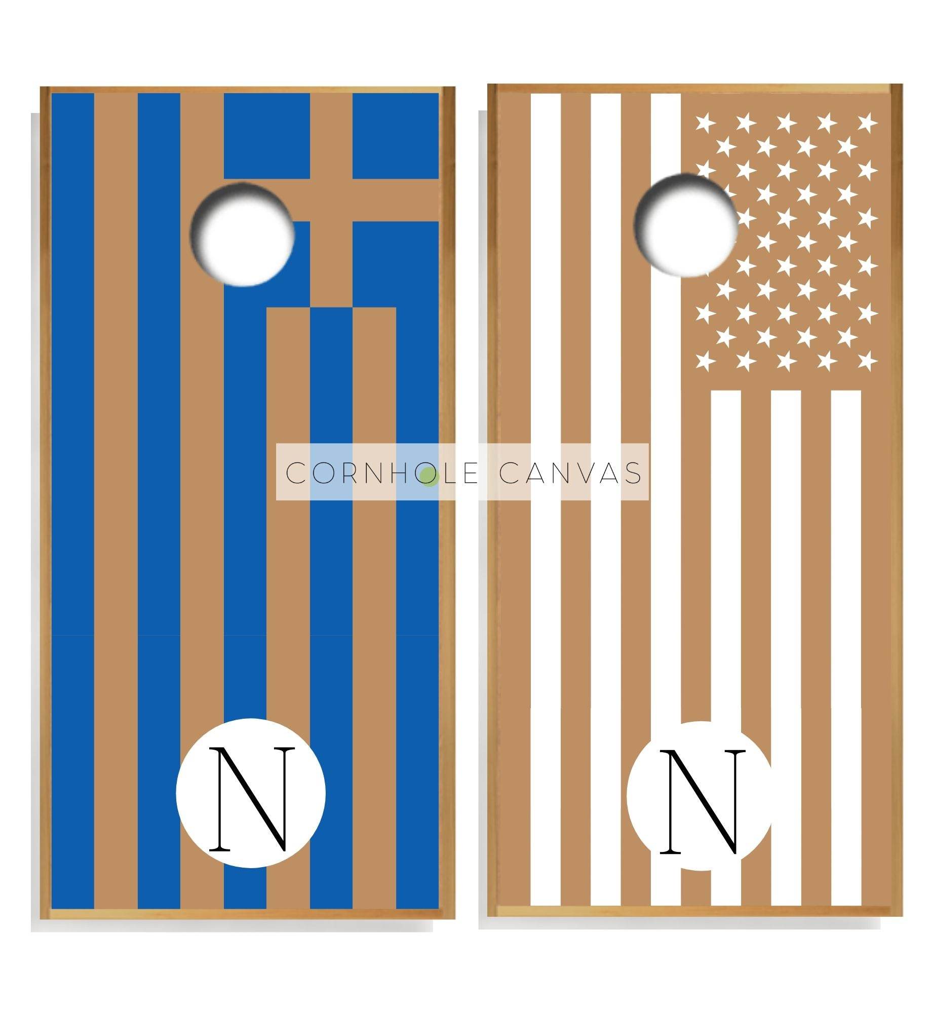 Greek and American Flag Cornhole Boards - Regulation Size and Hand Crafted.