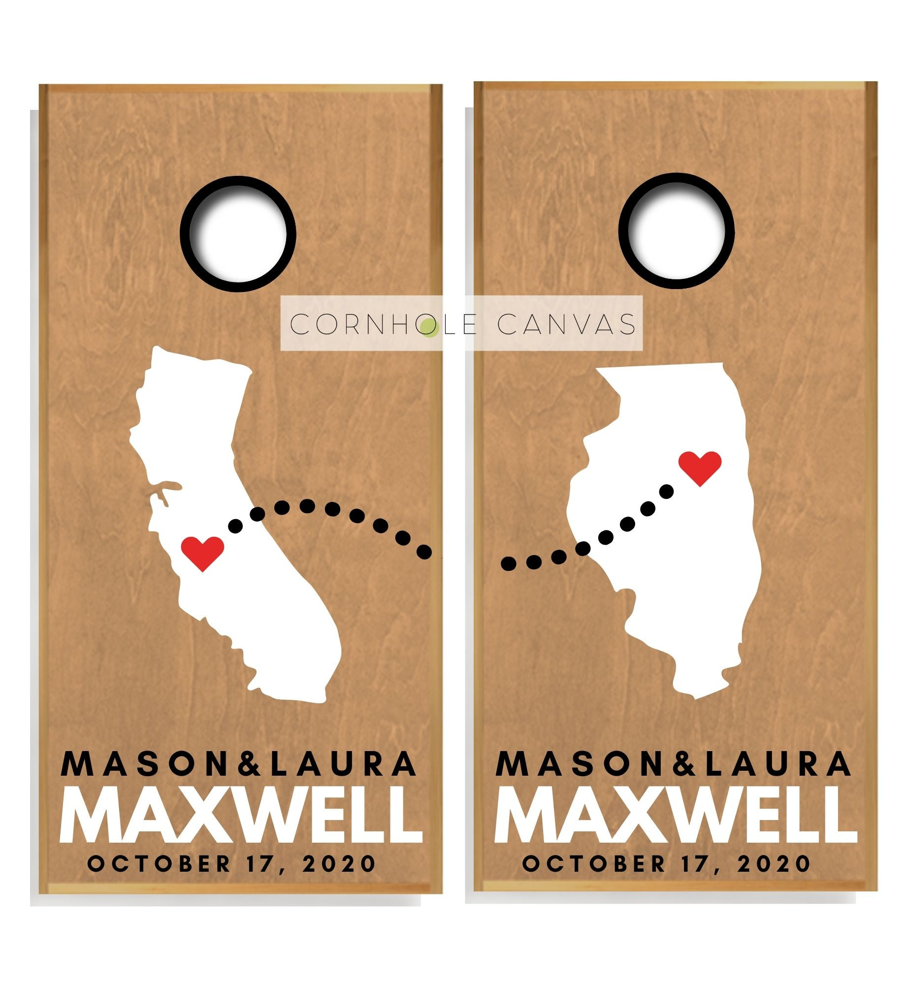 Wedding Cornhole Boards - Regulation Size - Custom State Prints