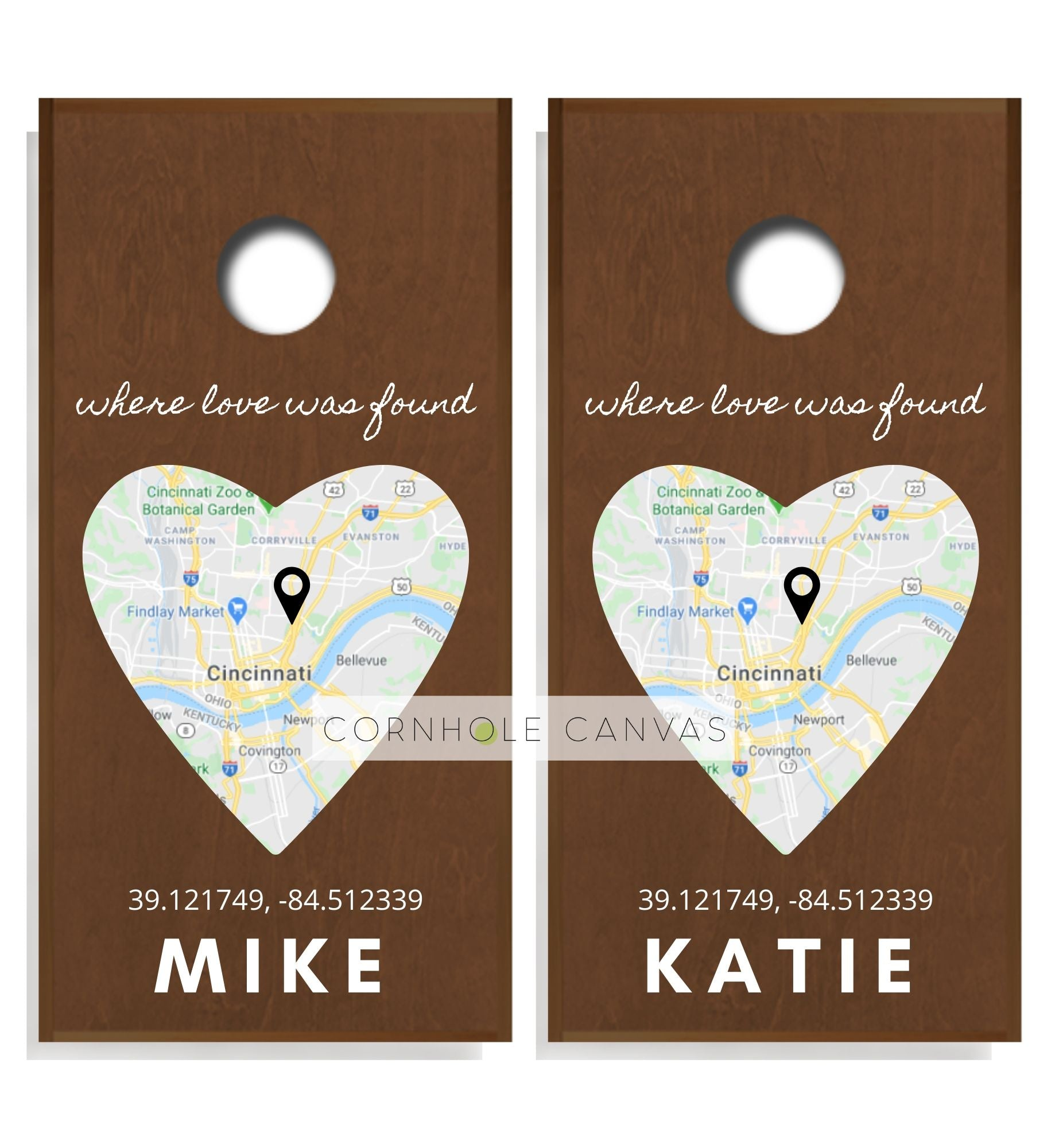Wedding Cornhole Boards - Regulation Size - Heart Print - Where We Met