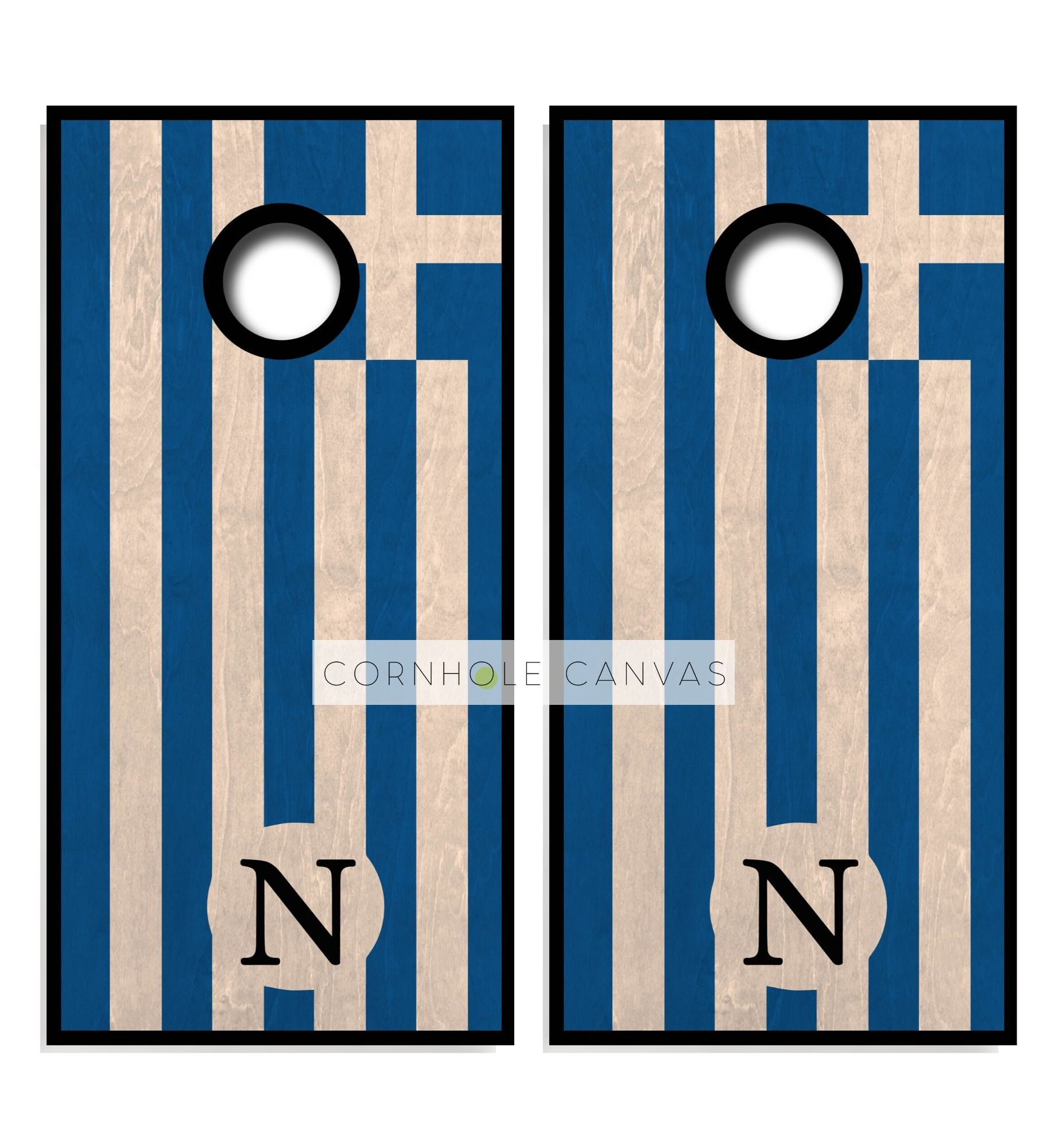 Greek Flag Cornhole Boards - Regulation Size and Hand Crafted.