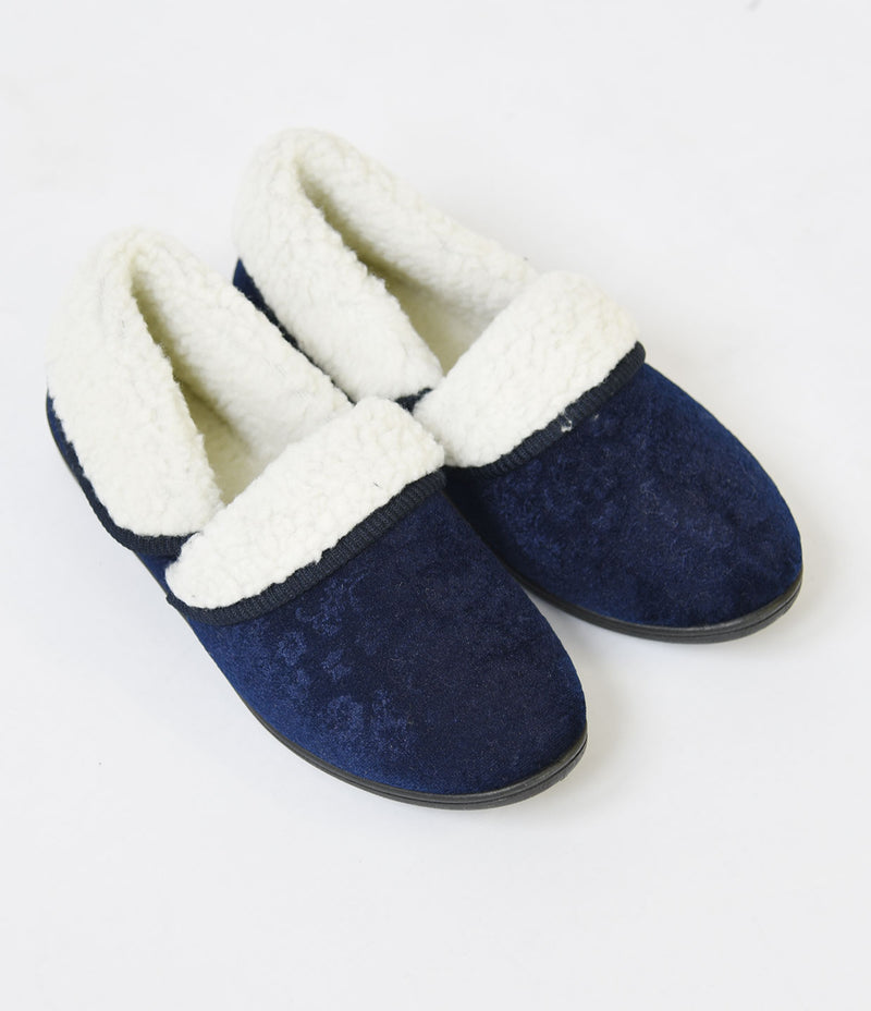 LADIES NAVY SLIPPERS