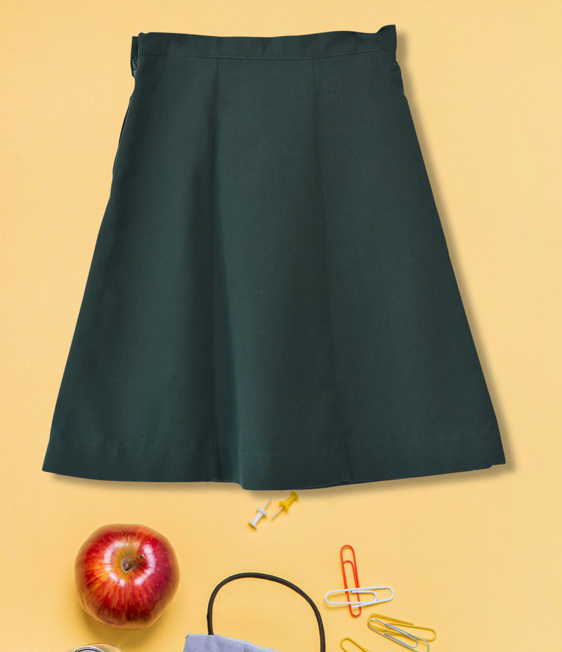 Girls Plain School Skirt - Bottle Green