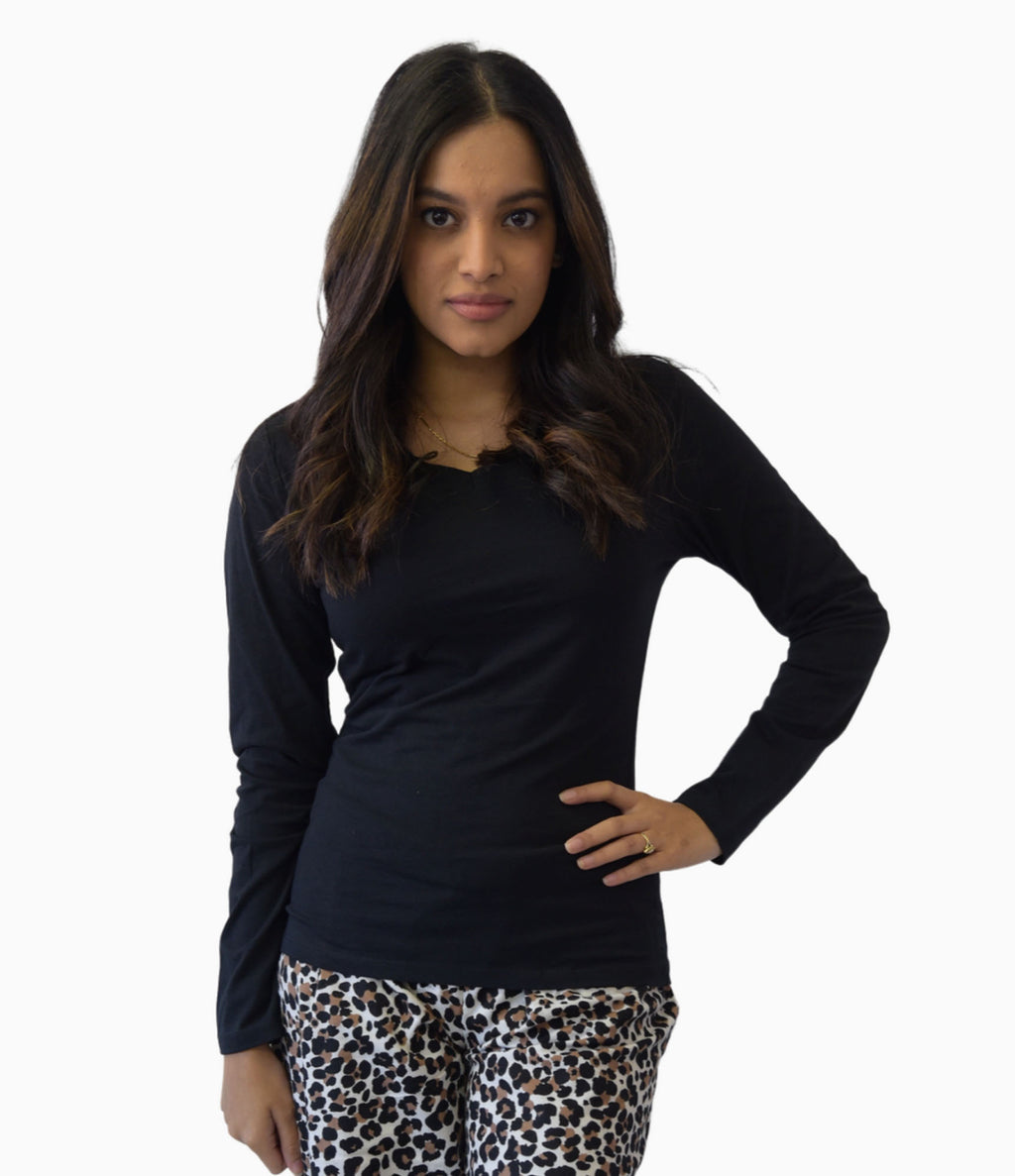 Ladies l/s Tops v neck