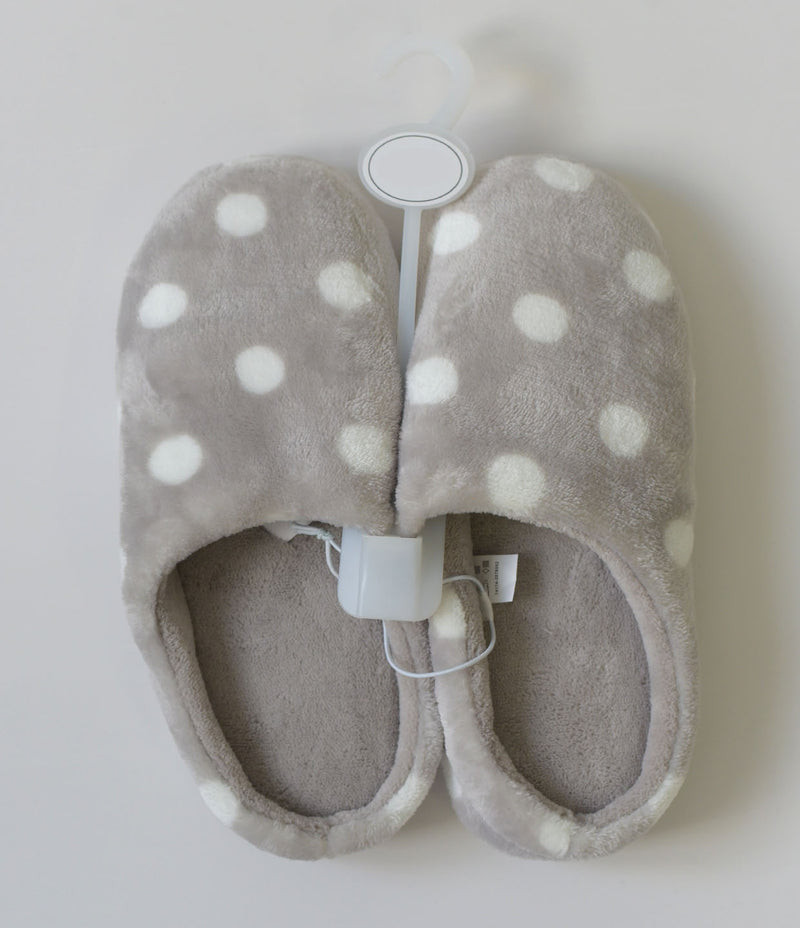 Ladies Grey Polka Dot Slippers