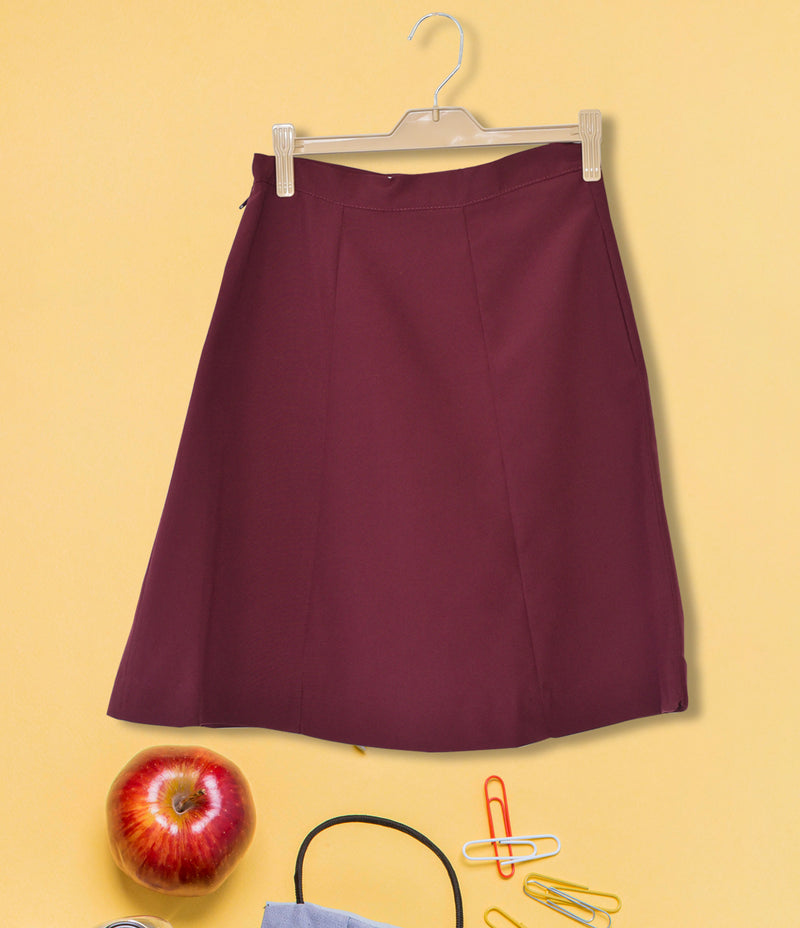 Girls Plain School Skirt - Maroon 113