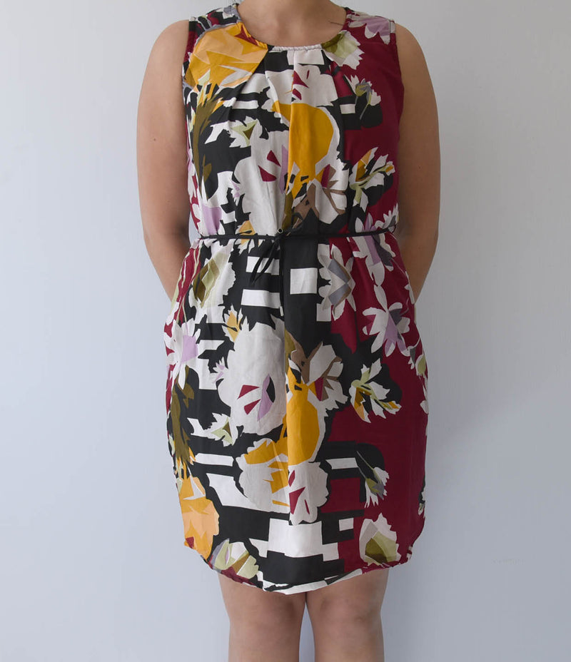 LADIES BURGANDY FLORAL DRESS