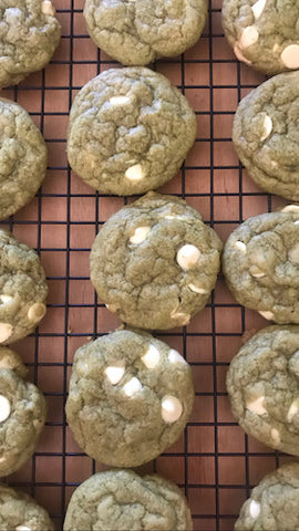 Matcha & White Chocolate Chunk Cookies Cooling on a Cooling Rack