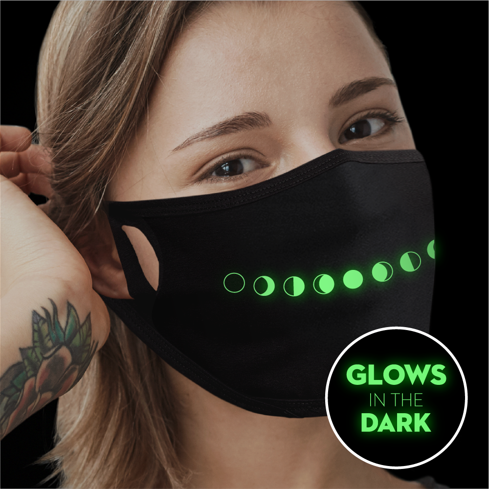 Moon Phase Smile - Glow In The Dark Face Mask - Cloth