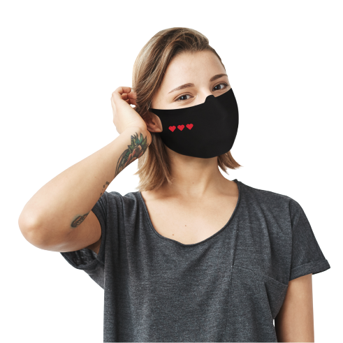 3 8-Bit Hearts Face Mask - Cloth