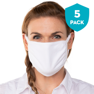 Blank White Triple‑ply Cotton Face Mask - 5 Pack - Cloth