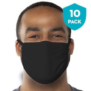 Blank Black Triple‑ply Cotton Face Mask - 10 Pack - Cloth