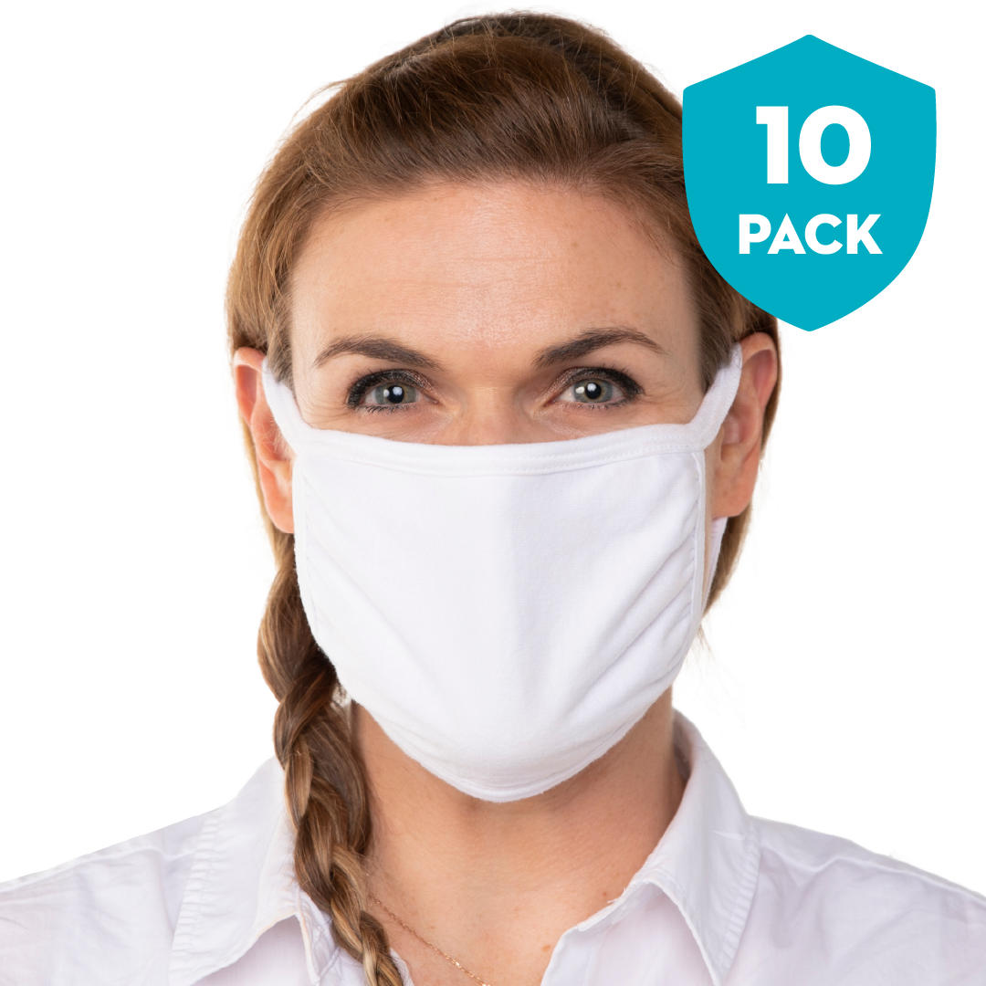 Blank White Triple‑ply Cotton Face Mask - 10 Pack - Cloth