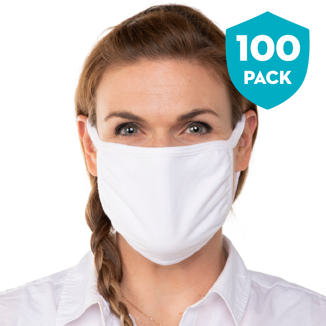 Blank White Triple‑ply Cotton Face Mask - 100 Pack - Cloth