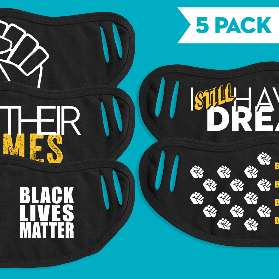 Black Lives Matter - 5 Pack Face Mask - Cloth