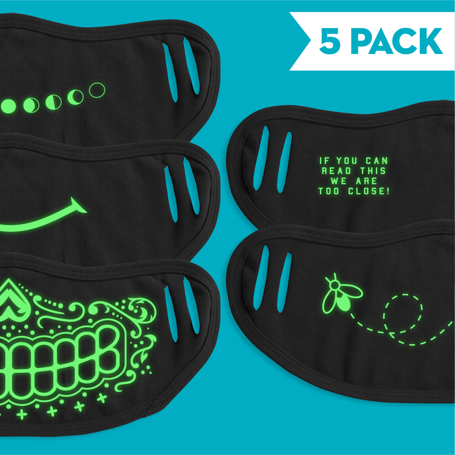 Glow In The Dark - 5 Pack Face Mask - Cloth