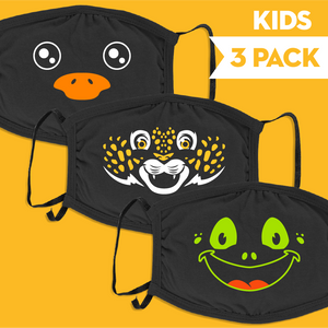 Animal Faces - Kids 3 Pack Face Mask - Cloth