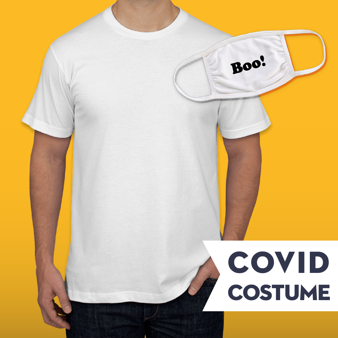 Ghost Covid Costume - Triple-Ply Mask & American Apparel Jersey T-Shirt and Face Mask - Cloth