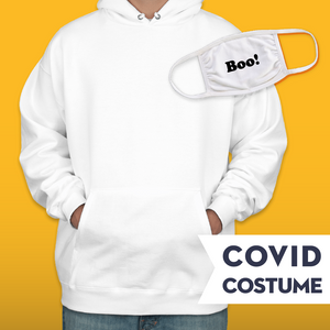 Ghost Covid Costume - Triple-Ply Mask & Hanes Heavyweight Hoodie and Face Mask - Cloth