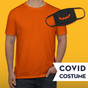 Pumpkin Covid Costume - Triple-Ply Mask & Gildan Softstyle Jersey T-Shirt and Face Mask - Cloth