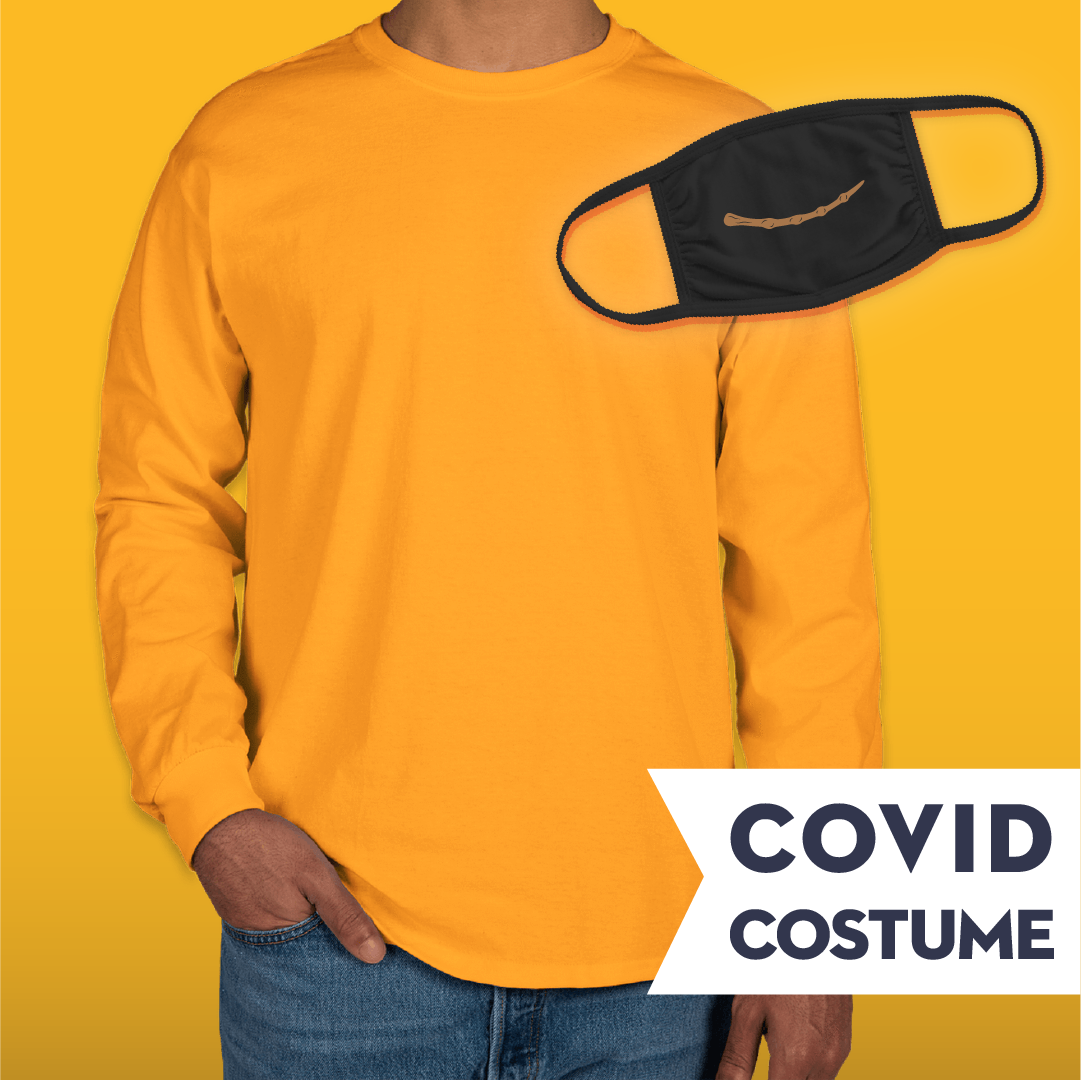 Yellow Wizard Covid Costume - Triple-Ply Mask & Gildan Longsleeve T-Shirt and Face Mask - Cloth