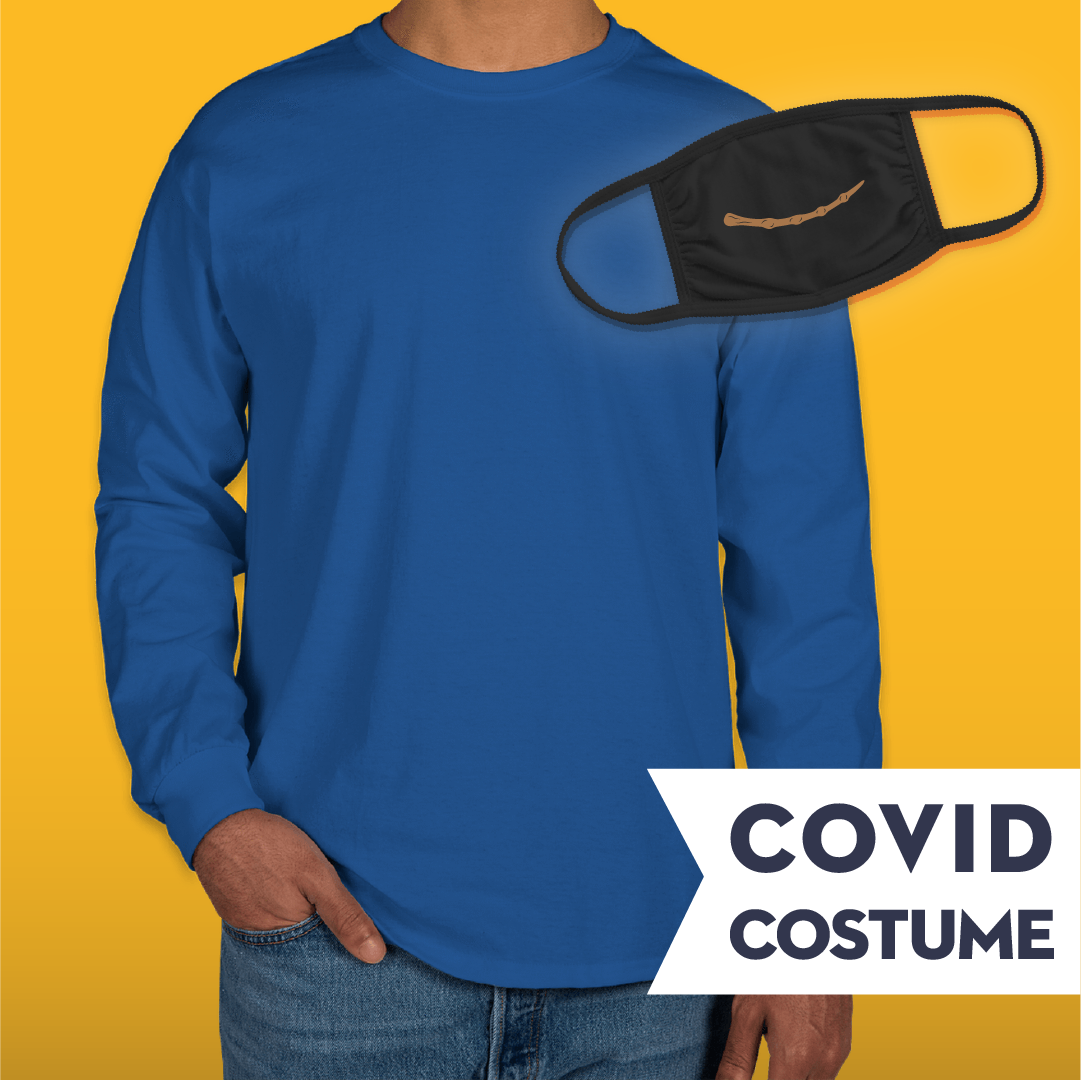 Blue Wizard Covid Costume - Triple-Ply Mask & Gildan Longsleeve T-Shirt and Face Mask - Cloth