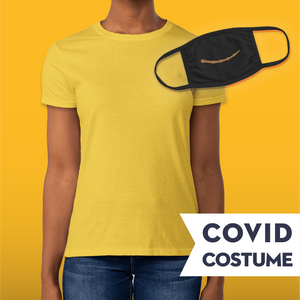 Yellow Wizard Covid Costume - Triple-Ply Mask & Gildan Women's Jersey T-Shirt and Face Mask - Cloth