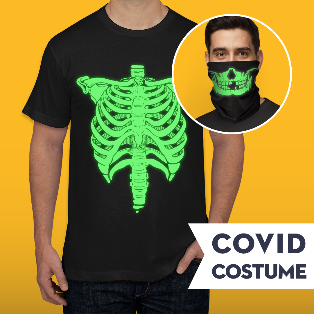 Glow In The Dark Skeleton Covid Costume - Gaiter & American Apparel Jersey T-Shirt and Face Mask - Cloth