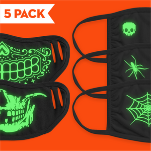 Halloween Glow In The Dark - 5 Pack Face Mask - Cloth