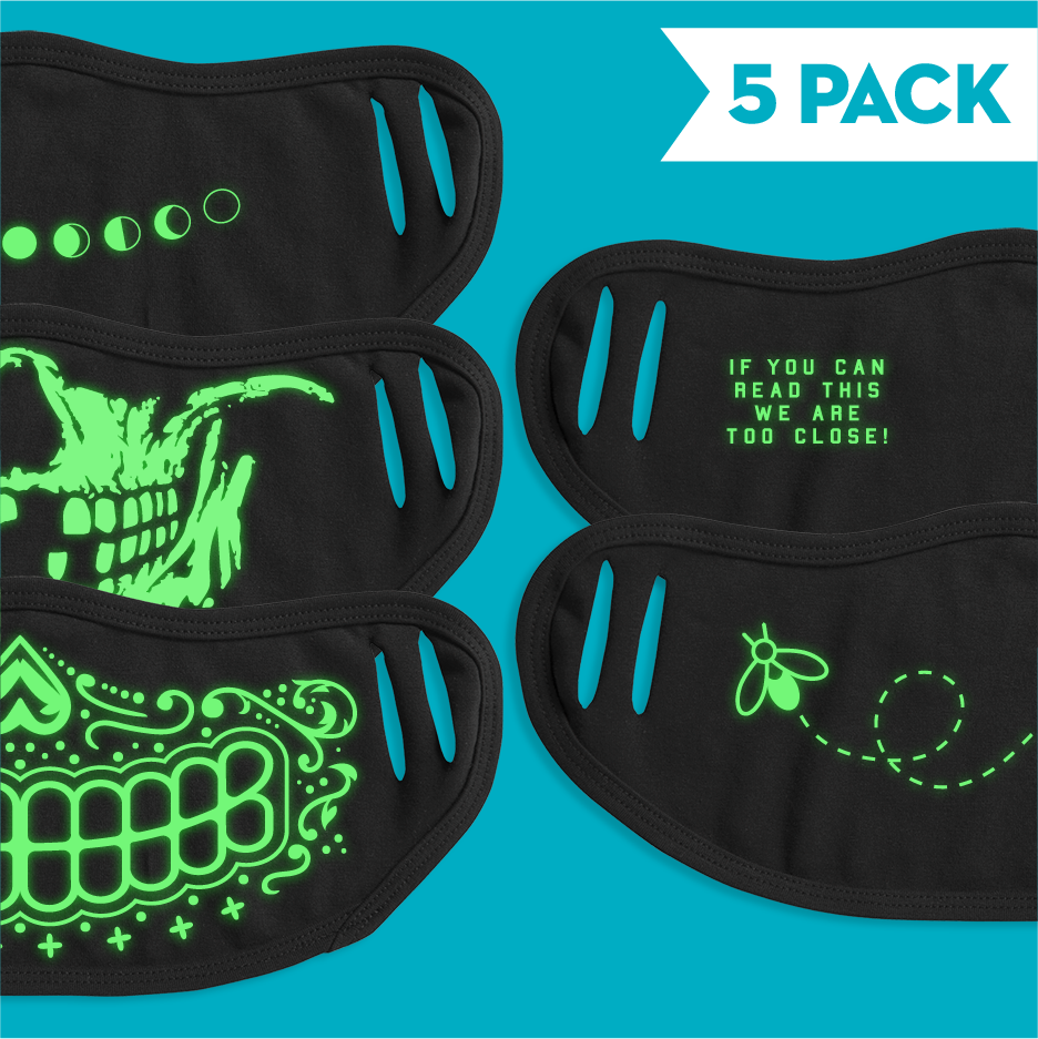 Glow In The Dark Masks - 5 Pack
