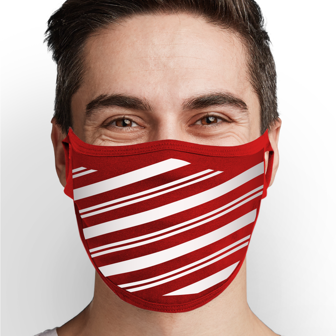 Candy Cane Pattern Face Mask - Cloth